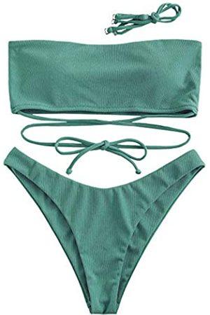 Zaful Damen Bandeau-Bikini-Set, trägerlos, gerippt