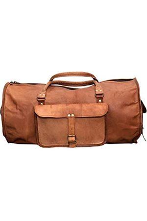 LLB Leather Arts Echtes Leder 20 Zoll Vintage Look Unisex Round Duffle Reisetasche 010