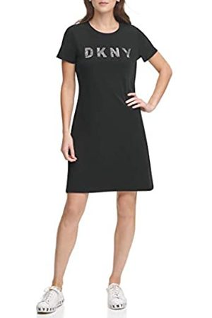 DKNY Damen Sequins Logo T-Shirt Dress Kleid, /Gunmetal