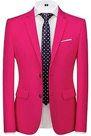 MOGU Herren Anzugjacke Slim Fit Sport Mäntel Blazer für Alltag Business Hochzeit Party - Pink - 48