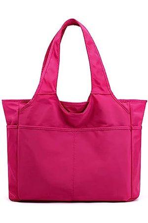 Collsants Nylon Tote Bag Wasserdichte Schultertasche für Frauen Leichte Reise Handtasche Multi Tasche mit Reißverschluss, (rosarot)