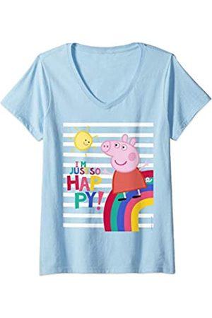 Peppa Pig Damen Happy T-Shirt mit V-Ausschnitt