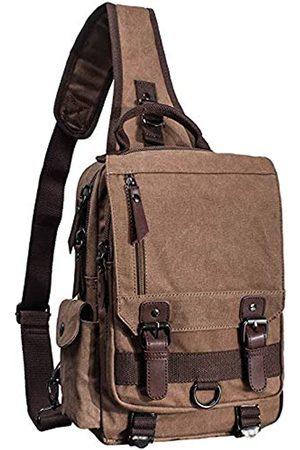 El-fmly Canvas Crossbody Messenger Bag für Herren Damen Sling Shouler Rucksack Reiserucksack (Kaffee