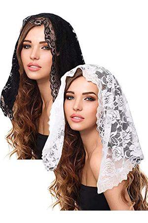 Boao 2 Stück Blumen Spitze Schleier Kopfbedeckung Latein Masse Schleier Kurzen Schal für Braut Damen (Farbe Set 1)