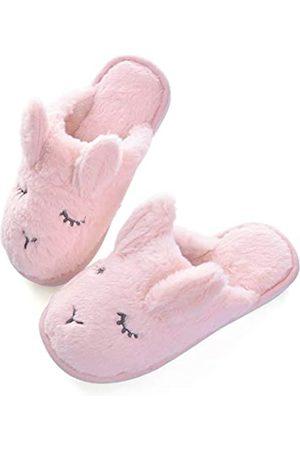 YinZhen Qin Unisex Winter Warme geschlossene Zehen Indoor Hausschuhe für Damen/Herren, niedliches Katzenmuster Hausschuh Slider für Paare, Pink (C-pink)