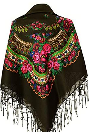 M&K Apparel Halstuch mit traditionellem ukrainischem/polnischem/russischem Blumenmuster und Fransen