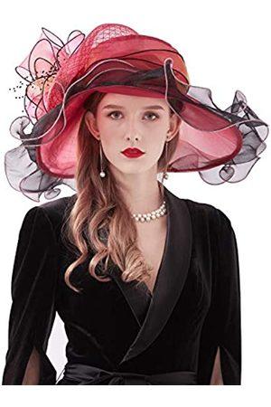 Z&X Damen Kentucky Derby Kirchenhut Organza breite Krempe Rüschen Fasziantor Hüte für Hochzeit Teeparty mit Clip