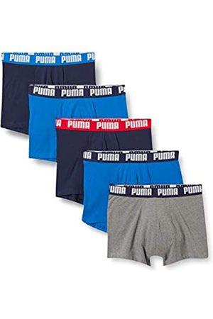PUMA Mens Basic Men's Boxers (5 Pack) Boxer Briefs, Blue/Grey Melange