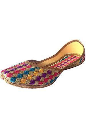 Step N Style Damen Phulkari Punjabi Jutti Khussa Schuhe Ethnische Schuhe Rajasthani Mojari, (mehrfarbig)