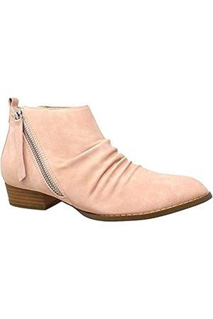 SOBEYO Damen Stiefeletten Western Blockabsatz Bootie Reißverschluss Quaste Akzent Schuhe, Pink (rose)