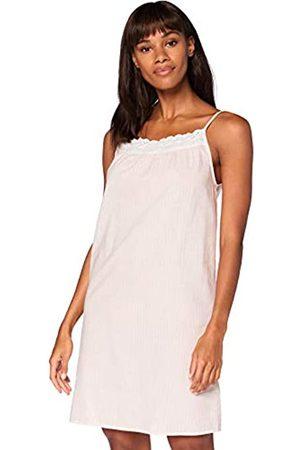IRIS & LILLY Damen Ärmelloses Nachthemd aus Baumwolle, Pink ( gestreift), XS