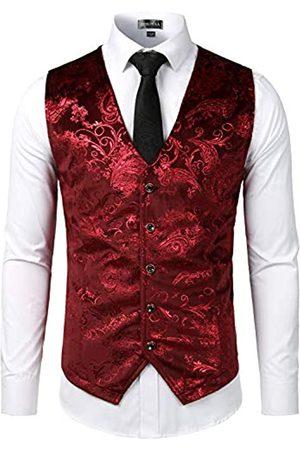 ZEROYAA Herren Anzugweste mit V-Ausschnitt und Paisleymuster - Rot - XX-Large
