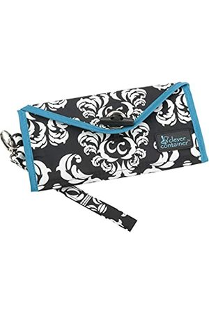 MAKE ROOM FOR LIFE See It Through - Wristlet Wallet/Smartphone Pass Kreditkarten Reisetasche / 3 Reißverschlussfächer, (Damast mit Blaugrün)