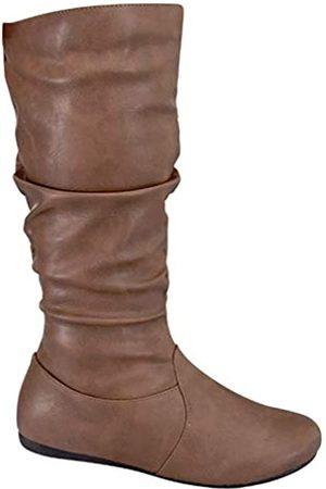 Wells Collection Damen Slouchy Stiefel weich flach bis niedriger Absatz unter dem Knie hoch, ( - Cognac Tan)
