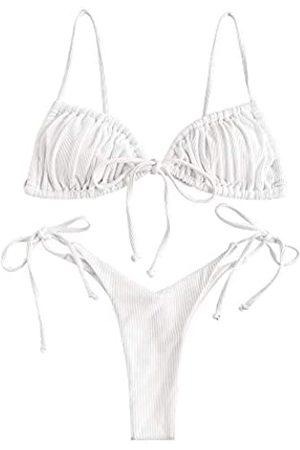 Zaful Damen Gerippte Krawatte Seite String Triangle Bikini Set Zweiteilige Bademode - - Large
