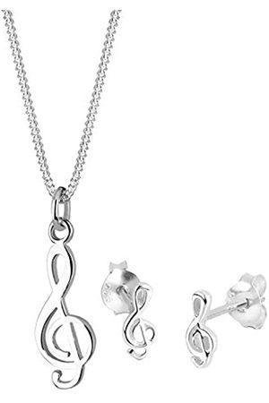 Elli Schmuckset Damen Notenschlüssel Musik in 925 Sterling