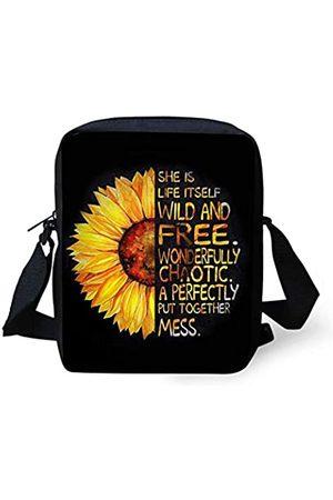 Forchrinse Trendige Sonnenblumen-Nachricht-Tasche für Teenager, Mädchen, klein, leicht, Canvas, Umhängetasche, Handy