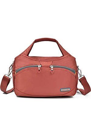 Crest Design Wasserdichte Nylon Crossbody Taschen für Frauen Multi Pocket Schultertasche Reisetasche Geldbörse und Handtasche, Rot (Papaya)