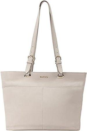 Banuce Große Kapazität, echtes genarbtes Leder Handtaschen für Frauen, Schultertasche, Damen, 30,5 cm Laptoptasche, Geldbörse, Grau (hellgrau)