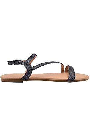 Gold Toe Damen-Sandalen, modisch, Glitzer, Slingback, Riemen, Sommerschuhe