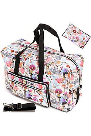 WFLB Damen Handtaschen - Große, faltbare Reisetasche für Frauen, Krankenhaustasche, niedliches Blumenmuster, Handtasche, Schultertasche, Wochenender, Übernachtung