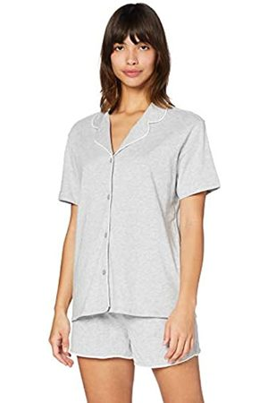 IRIS & LILLY Damen Pyjama-Set aus Baumwolle, Grau (Grey Marl), XXL