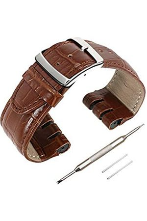 iMaxs Uhrenarmband aus echtem Leder, 24 mm, Schnellverschluss-Uhrenarmband, für Muster, Zubehör mit Werkzeug, Kalbgenhaut-Streifen mit silberfarbener Schnalle, Damen