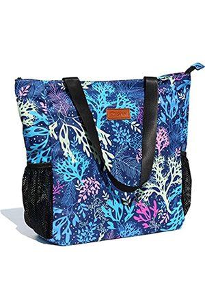 ESVAN Damen Strandtaschen - Große Tragetasche mit Blumenmuster, wasserabweisend, Schultertasche für Fitnessstudio, Strand, Reisen, Alltag, Blau ([Z] Koralle)