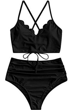 Zaful Damen Bikinis - Damen-Bikini-Set, hohe Taille, breiter Riemen, verstellbarer Rücken, Schnürung