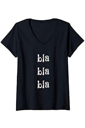 26 Rd Londonshirts Apparel Damen Lustiges Blahblahblah Blablabla Bla Bla Bla - Spruch T-Shirt mit V-Ausschnitt