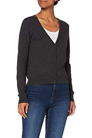MERAKI Amazon-Marke: Baumwoll-Strickjacke Damen mit V-Ausschnitt, Grau (Charcoal), 42