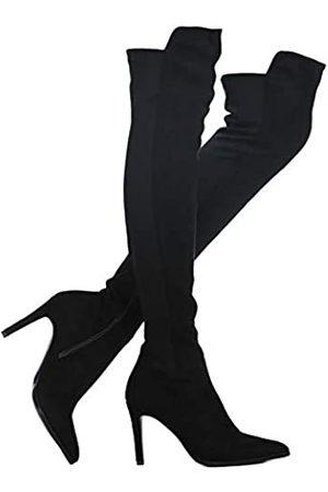 Shoe'N Tale Damen Overknee-Stiefel aus Velourslederimitat mit klobigem Absatz, Stretch, Overknee-hoch, Schwarz (Schwarzer Stiletto-Absatz)