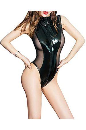 JTCMOJS Damen-Body aus Lackleder, mit Reißverschluss, durchscheinend, Netzstoff