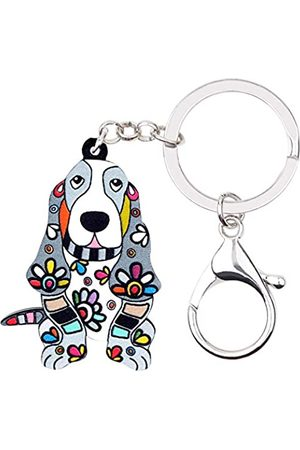 WEVENI JEWELRY WEVENI Schlüsselanhänger, Acryl, Blumenmuster, Basset Hound, Hund, modischer Tierschmuck, für Frauen, Mädchen, Tasche, Auto, Anhänger