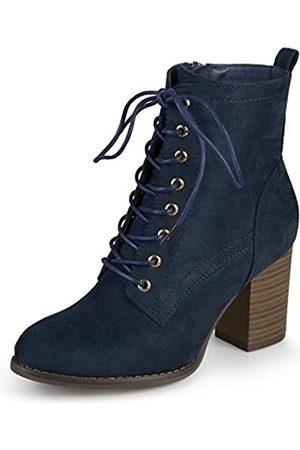 Journee Collection Damen Schnürschuhe - Damen Schnürschuhe mit gestapeltem Absatz