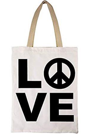 Dadidyc Peace and Love Tragetasche Handtasche Schultertasche aus natürlichem Baumwoll-Leinen, ideal für Einkaufen, Laptop
