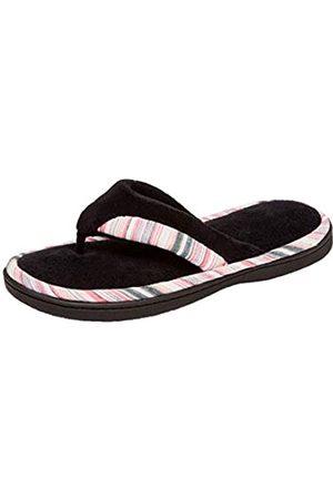 Isotoner Damen Hausschuhe - Women's Mandy Microterry Thong Slipper (Black