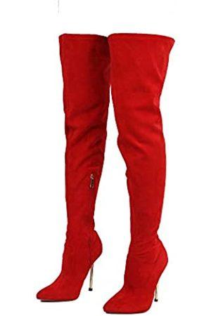 Cape Robbin Holdtight Kunstwildleder Oberschenkelhoch Overknee-Stiefel, spitz zulaufender Zehenbereich, Stiletto-Absatz, Mode Kleid Stiefel für Frauen