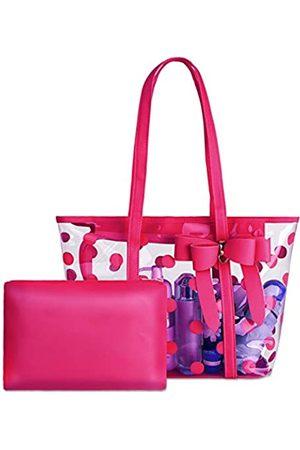 PG6 Wasserdichte PVC-Tragetasche für Damen, transparent, Schultertasche, Strandtasche, Einkaufstasche, Arbeitstasche, (roserot)
