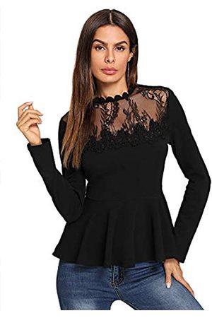 ROMWE Damen Spitze Mesh Rundhals Falten Elegant Slim Fit Schößchen Top Shirt Bluse - - Mittel