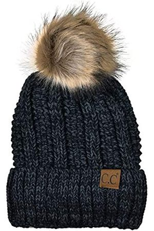 C.C Damen Hüte - Strickmütze mit Zopfmuster, Kunstfell