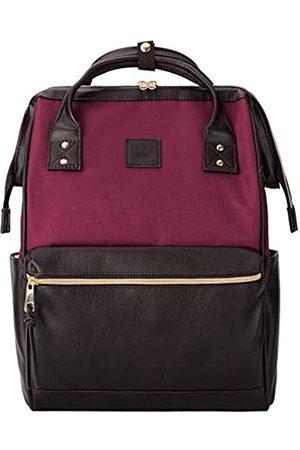 Kah&Kee Leder Rucksack Wickeltasche mit Laptopfach Travel School für Damen (Spleißen Wein/