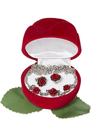 Schnabel Damen Halsketten - Damen-Schmuckset Halskette + Ohrringe Rosenschmuck - Rosenset rot