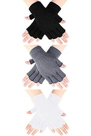 SATINIOR 3 Paar Halbfinger Handschuhe Winter Fingerlose Handschuhe Strick Handschuhe für Männer Frauen ( , Hellgrau