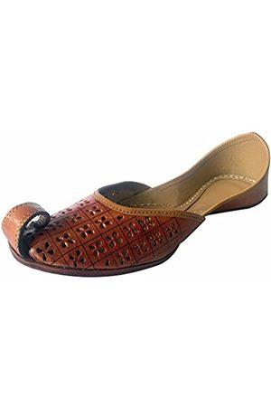 Step N Style Damen Flip Flops - Handgefertigte bestickte Damen-Sandalen, Flip-Flop-Stil, traditionell, Gold (bronze)