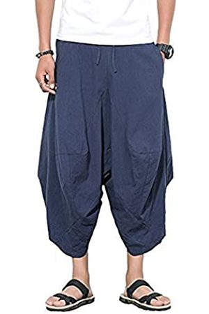 INVACHI Herren Weite Hosen - Herren elastic waist wide leg cotton harem pants baggy patchwork leinen capri hose verfügbar groß marine