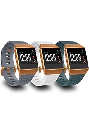 AIUNIT Kompatible Ionic Armbänder für Herren, Damen, Teenager, Kinder, klein, mit gebrannter orangefarbener Schnalle, Ersatz-Armband, Sport-Zubehör, Armband für Ionic Smart Watch, , Weiß