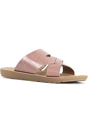 Qupid Eppa Sandalen für Frauen – Offener Zehenbereich Casual Wedge Flip Flop Sandalen Slides, Rot (Dark Blush Krokodil PU)