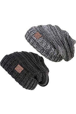 Funky Junque Damen Hüte - C.C. Strickmütze mit Zopfmuster, warm, übergroß, grob
