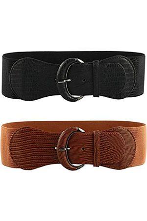 VOCHIC Damen Gürtel - 2 x Stretch-Gürtel für Damen, elastisch, dick